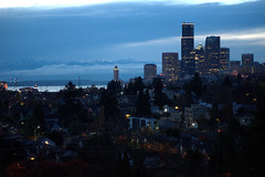 Seattle Blue Hour:  Downtown Skyline From Mount Baker Ridge Viewpoint