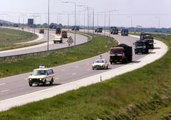 Miners Strike June 1984 Truck Convoy M18 (3) (asdofdsa) Tags: transport 1984 trucks coal pentaxmesuper convoy policeescort minersstrike