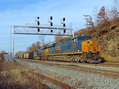 CSX 3159 and 3034 (Trains & Trails) Tags: bridge train diesel pennsylvania engine transportation locomotive coal ge signal generalelectric gantry csx fayettecounty gevo 3159 darkfuture 3054 yn3 widecab es44ah southconnellsville u883