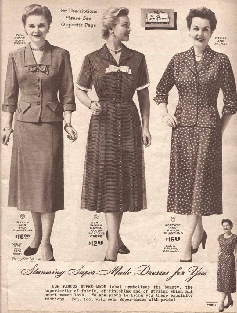 09f085b72a2aa Spring and Summer 1955 Lane Bryant (vintagestitches) Tags  ladies 1955  fashion vintage print