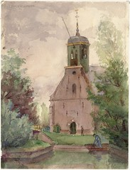 Kerk Koedijk (Regionaal Archief Alkmaar Commons) Tags: church alkmaar kerk aquarel tekening