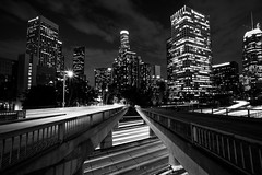 Downtown Los Angeles (Michael Zampelli) Tags: losangeles california unitedstates us 4thstreet bridge blackwhite 5dmarkiv vanishingpoint civiccenter