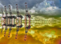 Iron in the sky (EdgarJa) Tags: mirror spiegel wolken clouds red yellow