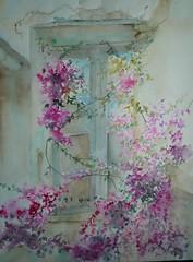 rideau fleuri (furlane robin) Tags: fleurs fentre aquarelle printemps couleur peinture nature maison watercolor extrieur calme