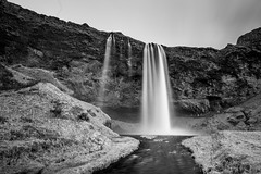 This burning paints us wet with silhouette sweat (chilledvondub) Tags: canon iceland waterfall sejlandsfoss lee bigstopper 10stop neutraldenisty monochrome badweather travel canon5d eos canon5dmk3 fullframe sharpglass wideangle