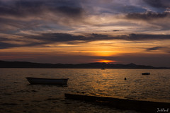 Sunset over the Adriactic (justinsaunders1) Tags: landscape sunset seascape sea reflection mountain distance sky colours moment time waiting tranquil calm relaxing peaceful outdoor beach shore seaside ocean coast water cloud sand