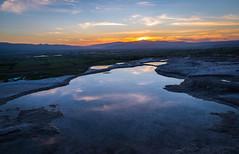 Sunset in Cappadocia (Ash and Debris) Tags: pool landscape sunset nature water mountains travertines evening turkey dusk sun color colors sky sunlight clouds travertine mountain denizli tr cappadocia