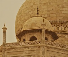 close up of one of the small taj mahal domes with the big one looming in the bachground (bearlike1) Tags: taj mahal agra india new dehli uttar pradesh history historic indian monument awesome amazing wonderful outside outdoors building architecture classical