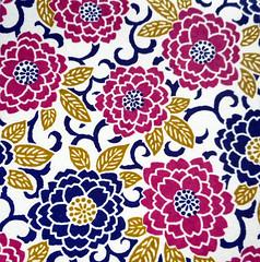 Kyoto yuzen washi 7 (tengds) Tags: handmadepaper japanesepaper yuzenwashi kyotoyuzen washi chiyogami flowers chrysanthemum leaves blue darkblue redviolet white tan tengds