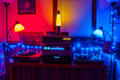 Red, yellow and blue (DjD-567) Tags: audio electronics marantz thorens mcs cassette turntable hifi vintage nikon d90 lights lowlight darkness colors blue red yellow components sound dusk