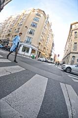 Le Lavoir (c'estlavie!) Tags: lelavoir paris france candid women leg nikonflickraward nikon fisheye landscape street perspective blue bleu zebracrossing people gwc parisienne