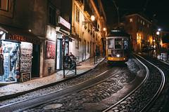 Lisbon at night (Georgi C) Tags: street streetphotography lisbon lisboa portugal fujifilmx100t fujifilm tram night nightshot citylights city streets streetshadows rails lights citycenters noflash paves