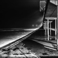 Ocean Beach 2016-35 (rmc sutton) Tags: ob obpier oceanbeachpier ocean pacificocean nikon nikond800 night le blackandwhite bw photographicseries photoseries monochrome pier