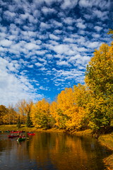 Fall Fun (stevenbulman44) Tags: kayak canon autumn fall landscape color water reflection clouds fishcreek calgary 2470f28l lseries outdoor sky serene