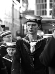 Remembrance Sunday, Canterbury, 13 Nov 2016 (chrisjohnbeckett) Tags: portrait sailor remembrancesunday canterbury uniform street urban people group canonef135mmf2lusm chrisbeckett blackandwhite bw monochrome cap hmscourageousscc schoolcadetcorps cadet war peace defence security sea candid global photojournalism
