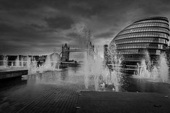 water (Steve J Cottis) Tags: blackandwhite water clouds towerbridge fountains countyhall tokina1116mm28 nikond5300