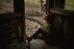 Michaele. (gianteyephotography) Tags: portrait people woman female forest lost sticks blood model cabin woods rustic run hide shelter fever bruises wooded