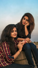 Shormy & Eshana (Saidul Islam Rahie) Tags: portrait sky moon nature greentree