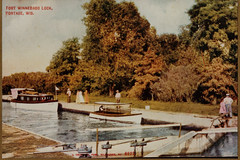 Ft Winnebago Lock with Boaters, Color Postcard
