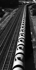 Black Snake (tomcanon68) Tags: railroad blackandwhite bw train pennsylvania bethlehem bethlehemsteel tankcars