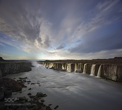 Meet me at dawn. (PhiladelphiaHVAC165) Tags: sky landscape morning nature river travel north clouds cloudscape rocks waterfall dawn flow power cliffs wild arctic camping contrasts adventure skyscape discover photograph basalt shoot raw iceland panorama selfoss