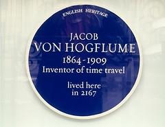 Jacob Von Hogflume (Ronald Hackston) Tags: blue plaque jacob van hogflume timetraveller time travel newmanstreet fitzrovia london england uk ronniehackston londonist