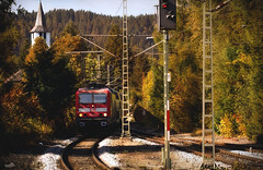 Titisee in the Black forest (VandenBerge Photography) Tags: green autumn church forest season travel train blackforest germany europe titisee railway nature landscape badenwrttemberg