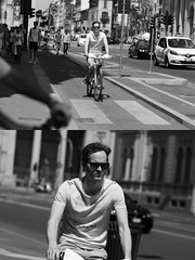 [La Mia Citt][Pedala] con il BikeMi (Urca) Tags: milano italia 2016 bicicletta pedalare ciclista ritrattostradale portrait dittico nikondigitale mir biancoenero blackandwhite bn bw 8986 bikemi bikesharing