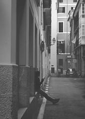 (amargureiro) Tags: street streetphotography city blackandwhite bw blancoynegro black white d80 daylight soft monocrome road lines perspective girl palmademallorca palma mallorca 1870mmf3545