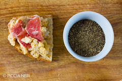 Scrambled eggs with ham (PicciaNeri) Tags: bread breakfast butter cuisine curedmeat delicious eat egg energy fatty food fresh fried ham hot meal meat morning nutrition nutritious pepper pork prosciutto protein savoury scrambled seasoning toast white woodenbackground yolk