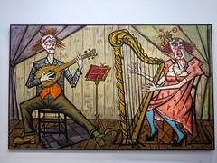 La Harpiste / The Harpist (1991) by Bernard Buffet (Sokleine) Tags: bernardbuffet buffet exhibition exposition art peinture painting tableau museum muse culture mam modernart musedartmoderne paris 75016 frenchheritage france clowns musiciens harpist musicians mandoline musicplayer