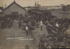 c. 1916 - Vintage Military Photo - WWI Canadian Soldiers Loading & Transporting Equipment & Supplies at the Railway Loading Ramps at Camp Petawawa, Ontario during the First World War (Baseball Autographs Football Coins) Tags: petawawa camppetawawa petawawacamp militia militiatraining wwi ontario worldwarone cef fieldpostoffice cds fpo artillery artillerypracticecamp rcha royalcanadianhorseartillery train boxcar siding ramp