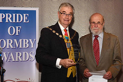 Portrait Reg Yorke 2016 10 14 Pride Of Formby Awards Gild Hall 06 With Mayor Of Sefton Pic From Bubble (Formby Civic Society) Tags: drregyorke regyorke prideofformbyawards award formby merseyside formbycivicsociety