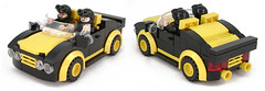 Blacktron Fleshies (Unijob Lindo) Tags: lego leg godt black tron blacktron classic space vintage yellow car 2seater two seater stud wide 6wide six studs vehicle sports mudguards sean connery fleshies windshield lights spoiler bumper grille toy race racers helmet goggles octopus villain villains dark boost speed champions capot