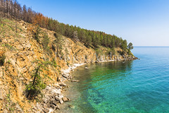 Lagoon with clean water (Ivanov Andrey) Tags: lake water rock cliff slope shore stone moss pine pinewood wood sand bay surf wave sky cloud horizon sun sunset evening blue skyblue green black trunk branch crown leaf bark rootwood wind coast coastline landscape shade wildlife travel tourism summer north lakebaikal russia