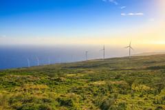 Wind Turbines (milepost430media.com) Tags: wind turbine windmill hawaii paradise clean energy renewable sunset green orange electricity generator dslr 70d glow hana