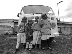 Naro Moru Children (mrtrella) Tags: kenya naromoru children africa afrika kids volkswagen vw vwbus poverty playing easternafrica blackandwhite bw vintage classic nikonp340