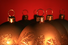 Soldiers (alideniese) Tags: christmas christmasdecorations baubles christmasballs orbs gold red macro closeup focus bokeh stilllife