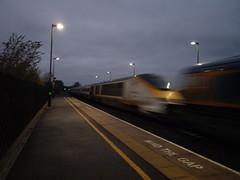 "GBRF Class 66 66757 ""West Somerset Railway"" hauls Eurostar Class 373 3019/3020 through Tamworth (qwertyberty45) Tags: eurostar 66757 gbrf 3019 3020 tamworth"