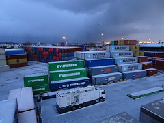 Angry sky (stevenbrandist) Tags: liverpool portofliverpool merseyside winter containerterminal container sky clouds hail weather