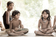 Portrait of Batak family (Global Wildlife Conservation) Tags: cleopatrasneedle palawan philippines puertoprincesa southeastasia boy children day family girl highkey hut mother nature people threepeople woman