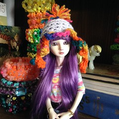 """""""Off the scenes"""" Citra wearing the carnival Octo-hat. (BJD Access0ruse) Tags: carnival hat childhood fashion doll handmade circus crochet knit sd octopus bjd calvinandhobbes garfield couture dollhat thehitchhikersguidetothegalaxy octo msd kandi nerdstuff size6 3dcuff bjdhat kandicuff derpyhooves bjdselling"""