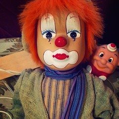 Shorty-BOB is a clown. #clown #clowns #red #hair #redhair #face #grease #paint #facepaint #redlips #makeup #scarf #slap #stick #slapstick #silly #funny #painted #colors #blue #friends #pals #puppet #nosmile #wig #shortybob #doll #toy #stare (shortybobdumpty) Tags: blue friends red silly colors face scarf hair toy funny doll paint puppet painted clown makeup pals grease wig stare redlips stick slap facepaint clowns popular redhair slapstick nosmile shortybob supop crackedpop