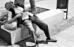 Afternoon Nap / Siestecita (mediterraneobcn) Tags: barcelona street plaza city travel people espaa man bench square relax blackwhite spain europa europe exterior gente outdoor sleep bcn banco july ciudad catalonia bin personas moustache viajes tired julio rest local dormir hombre catalua openair descanso sueo raval papelera blanconegro bigote cansancio airelibre callejera 2015 lugareo barcelonaexperience mediterraneobcn domingocalvo