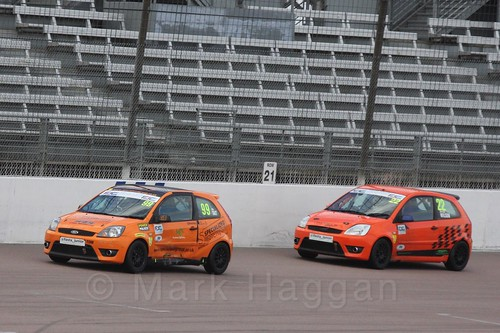 Elliot Wilson and Alexander Tait in  Race 2 at the BRSCC Fiesta Junior Championship, Rockingham, Sept 2015