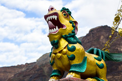Statue of Buddhist guardian lion (marcusfornell) Tags: india history statue ancient asia asien buddha buddhist lion buddhism tibet historic monastery tibetan tradition indien tabo guardian spiti gompa himachalpradesh southasia kinnaur lahaul sdasien