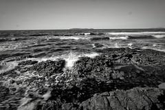 Four-seam (ss_show) Tags: ocean sea sky blackandwhite seascape beach nature water monochrome rock stone landscape island mono outdoor wave shore fujifilm bnw baw xm1 xf1024mm
