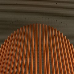 Floating Tubular Display (unclebobjim) Tags: orange art publicspace square miltonkeynes display metallic stripes curves tubes decoration ceiling wires copper hanging tubular parallel citycentre shoppingbuilding