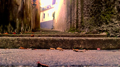ogni passo un ricordo (samuele.dangelo) Tags: street city autumn red urban sun green fall stairs grey cement stairway step leaveslight memorychildhood