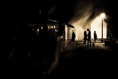 The Long Goodbye (Tony Teague (Slowcomo)) Tags: bw monochrome derbyshire nightshoot steamlocomotive midlandrailwaycentre canonef24105mmf4lisusmlens goldcollection swanwickjunction brclass5mt no73129 canoneos5dmkiii tonyteague slowcomo timelineeventscharter